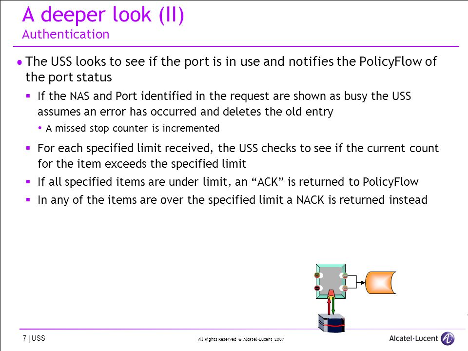 All Rights Reserved © Alcatel-Lucent 2007 7 | USS A deeper look (II) Authentication The USS looks to see if the port is in use and notifies the PolicyFlow of the port status If the NAS and Port identified in the request are shown as busy the USS assumes an error has occurred and deletes the old entry A missed stop counter is incremented For each specified limit received, the USS checks to see if the current count for the item exceeds the specified limit If all specified items are under limit, an ACK is returned to PolicyFlow In any of the items are over the specified limit a NACK is returned instead