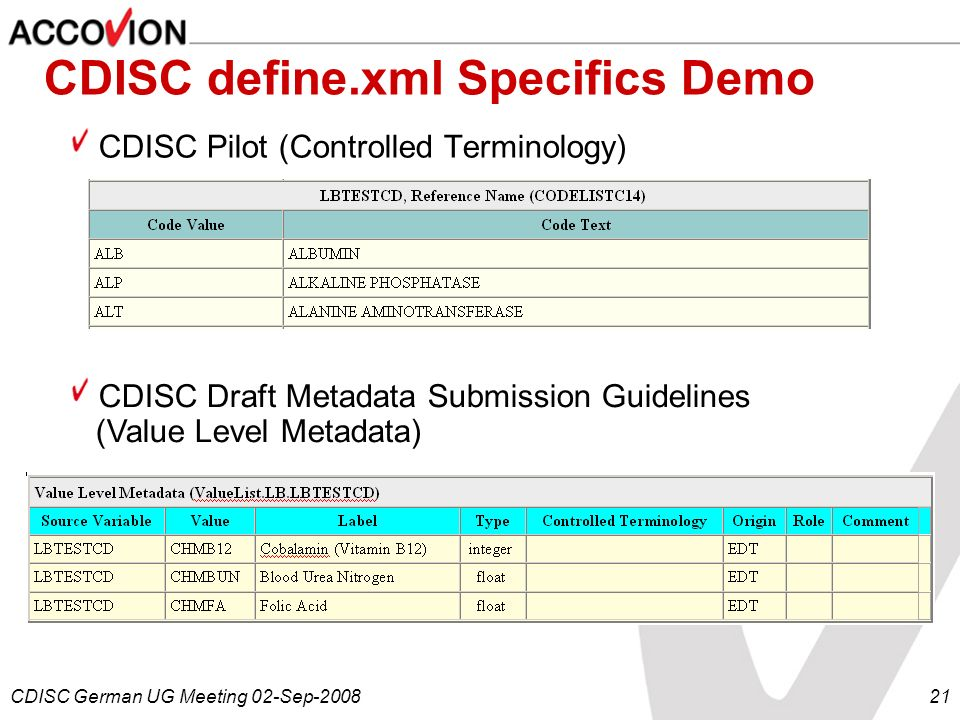 CDISC German UG Meeting 02-Sep-200821 CDISC define.xml Specifics Demo CDISC Pilot (Controlled Terminology) CDISC Draft Metadata Submission Guidelines
