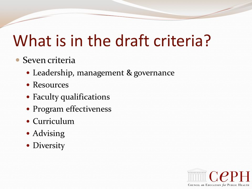 What is in the draft criteria? Seven criteria Leadership, management & governance Resources Faculty qualifications Program effectiveness Curriculum Ad