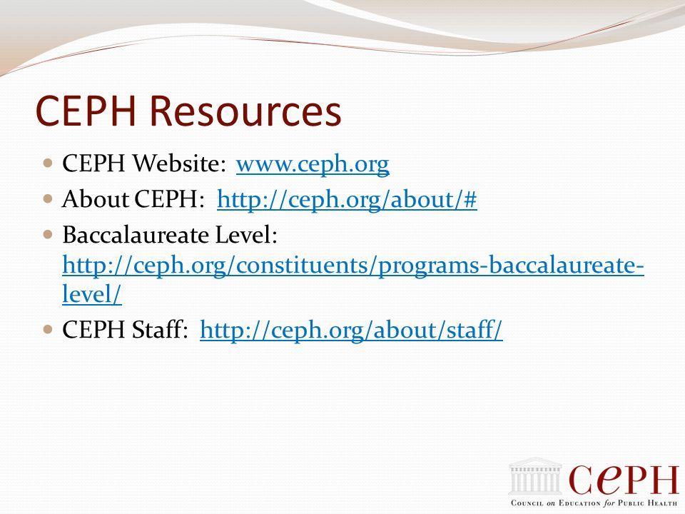 CEPH Resources CEPH Website: www.ceph.orgwww.ceph.org About CEPH: http://ceph.org/about/#http://ceph.org/about/# Baccalaureate Level: http://ceph.org/