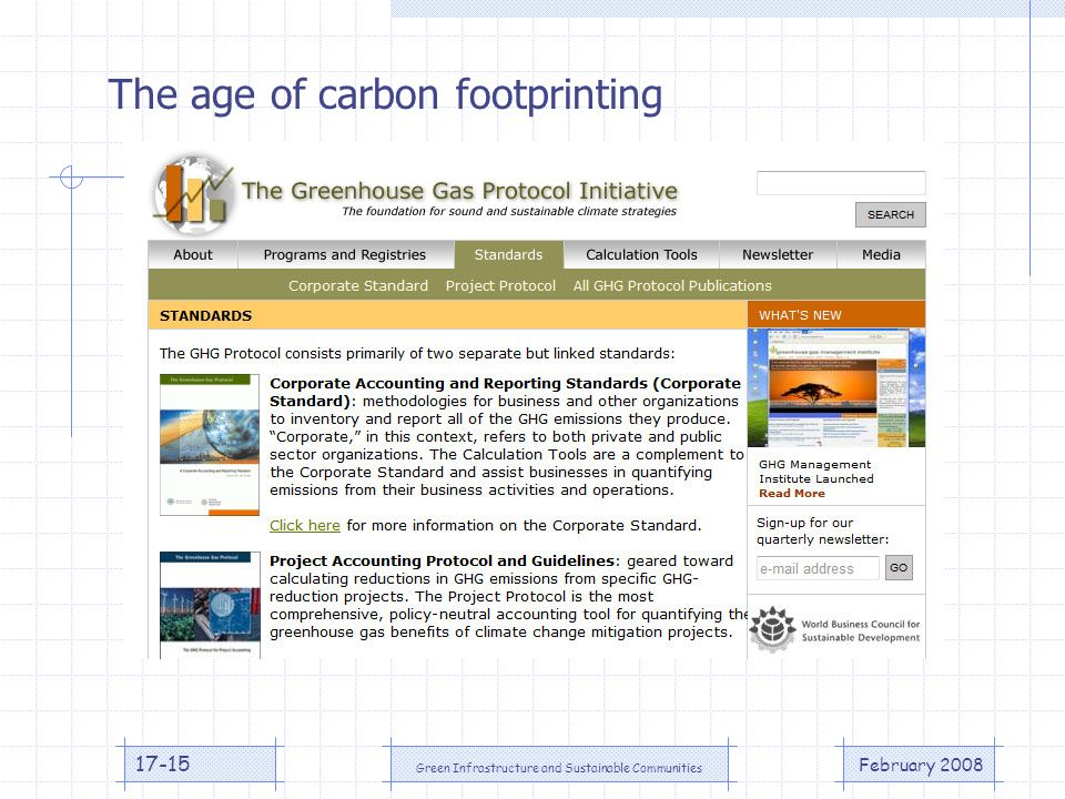 February 2008 Green Infrastructure and Sustainable Communities The age of carbon footprinting