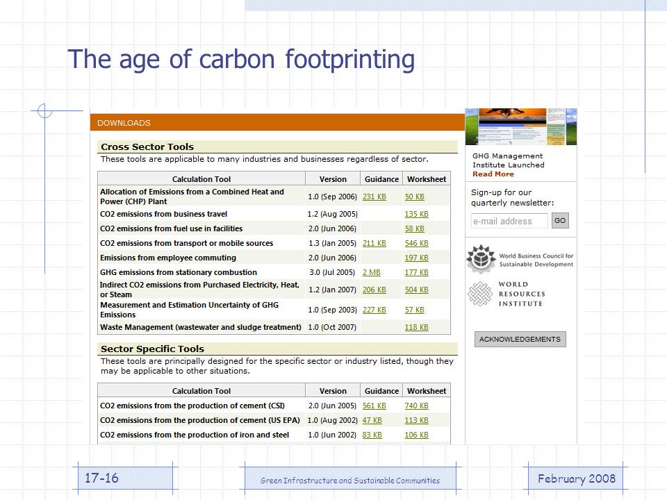 February 2008 Green Infrastructure and Sustainable Communities 17-16 The age of carbon footprinting