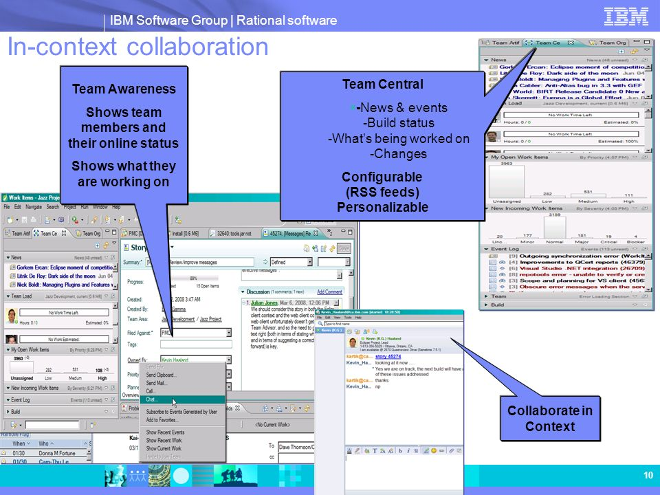 IBM Software Group | Rational software 10 In-context collaboration Team Awareness Shows team members and their online status Shows what they are worki