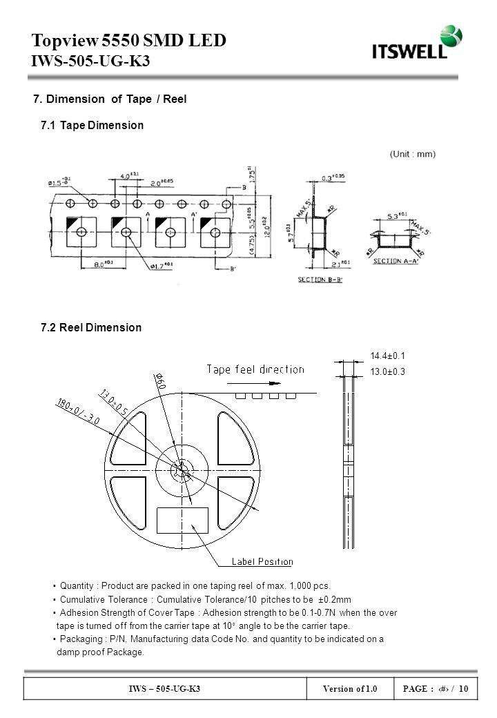 Topview 5550 SMD LED IWS-505-UG-K3 IWS – 505-UG-K3Version of 1.0PAGE : # / 10 7. Dimension of Tape / Reel 7.1 Tape Dimension 7.2 Reel Dimension 14.4±0