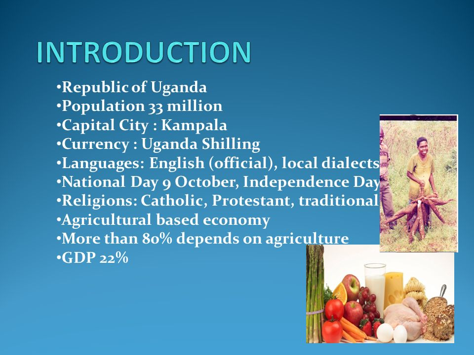 Republic of Uganda Population 33 million Capital City : Kampala Currency : Uganda Shilling Languages: English (official), local dialects National Day 9 October, Independence Day Religions: Catholic, Protestant, traditional beliefs Agricultural based economy More than 80% depends on agriculture GDP 22%