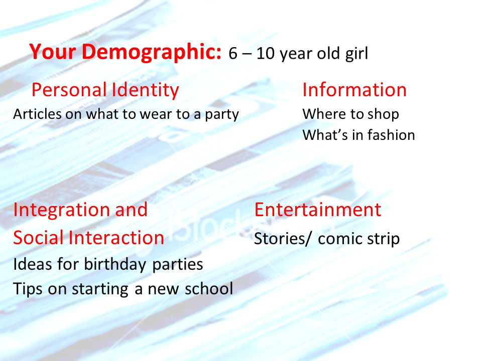 Your Demographic: 6 – 10 year old girl Personal Identity Information Articles on what to wear to a partyWhere to shop Whats in fashion Integration and