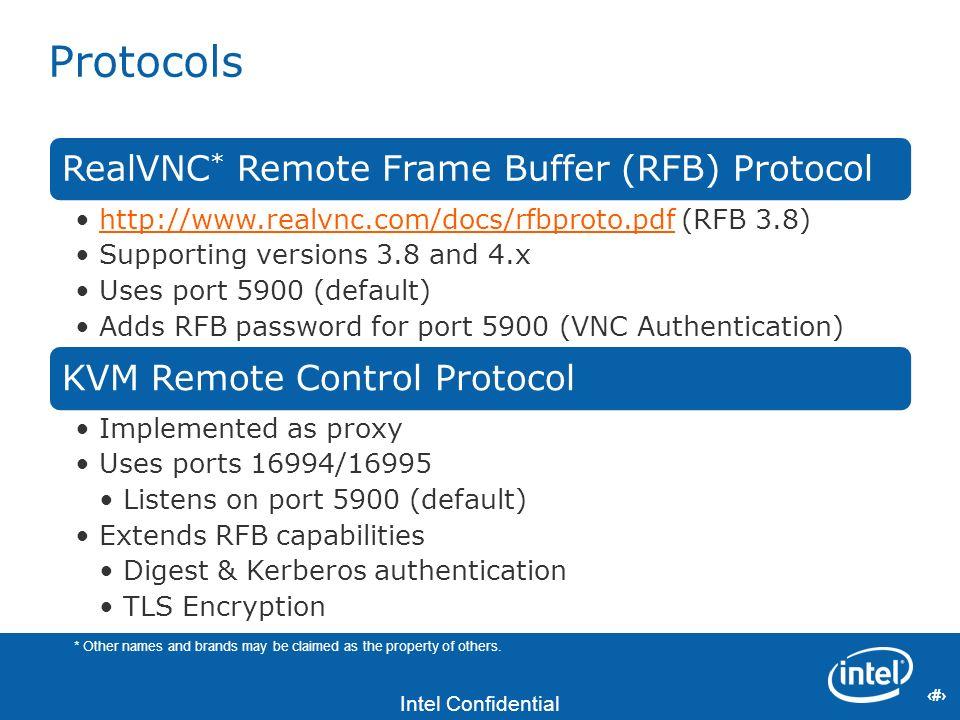 13 Intel Confidential 13 Protocols RealVNC * Remote Frame Buffer (RFB) Protocol http://www.realvnc.com/docs/rfbproto.pdf (RFB 3.8)http://www.realvnc.c