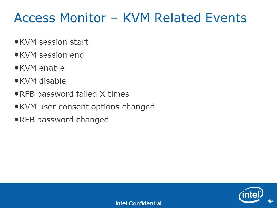 23 Intel Confidential 23 Access Monitor – KVM Related Events KVM session start KVM session end KVM enable KVM disable RFB password failed X times KVM