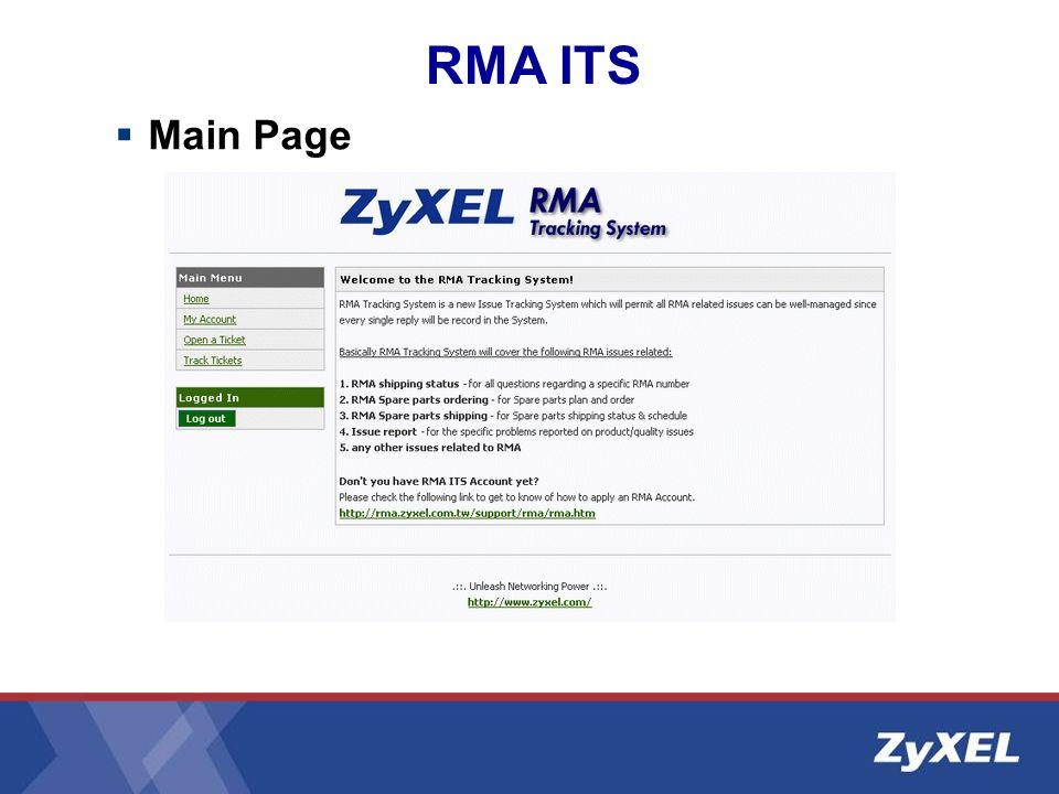 Main Page RMA ITS