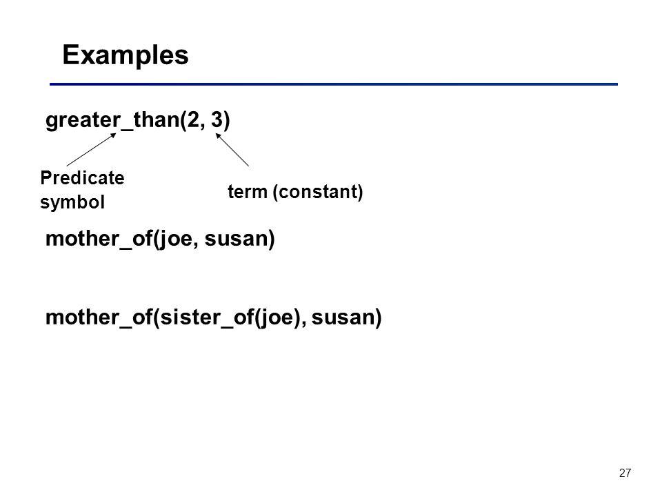 27 Examples greater_than(2, 3) mother_of(joe, susan) mother_of(sister_of(joe), susan) Predicate symbol term (constant)