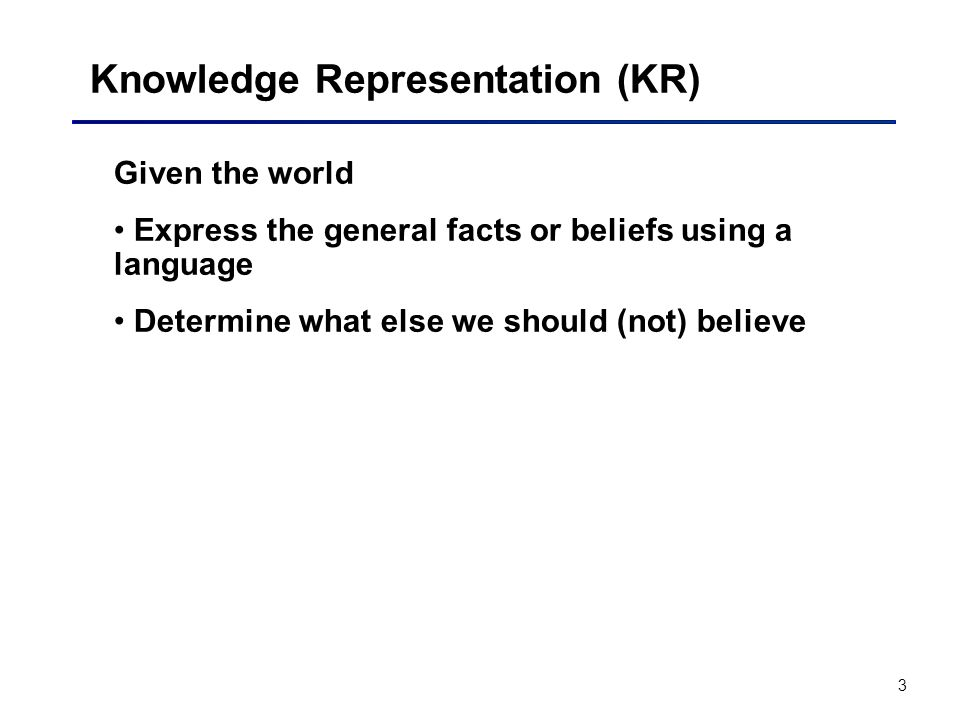 3 Knowledge Representation (KR) Given the world Express the general facts or beliefs using a language Determine what else we should (not) believe