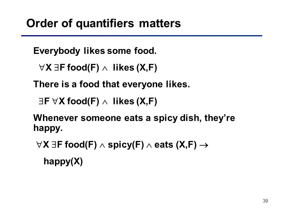 39 Order of quantifiers matters Everybody likes some food. X F food(F) likes (X,F) There is a food that everyone likes. F X food(F) likes (X,F) Whenev