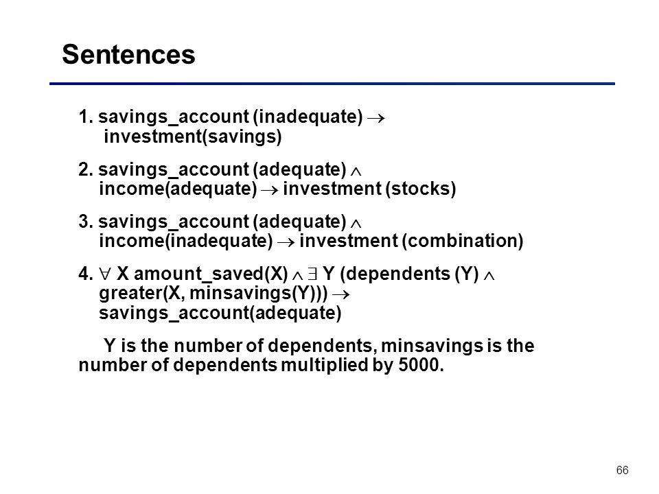 66 Sentences 1. savings_account (inadequate) investment(savings) 2. savings_account (adequate) income(adequate) investment (stocks) 3. savings_account
