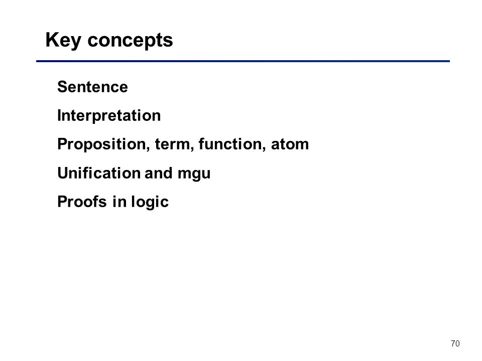 70 Key concepts Sentence Interpretation Proposition, term, function, atom Unification and mgu Proofs in logic