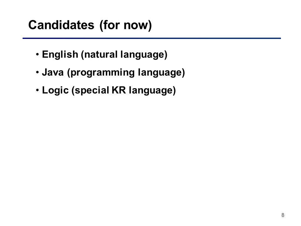 8 Candidates (for now) English (natural language) Java (programming language) Logic (special KR language)