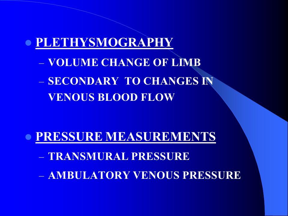 PLETHYSMOGRAPHY – VOLUME CHANGE OF LIMB – SECONDARY TO CHANGES IN VENOUS BLOOD FLOW PRESSURE MEASUREMENTS – TRANSMURAL PRESSURE – AMBULATORY VENOUS PR