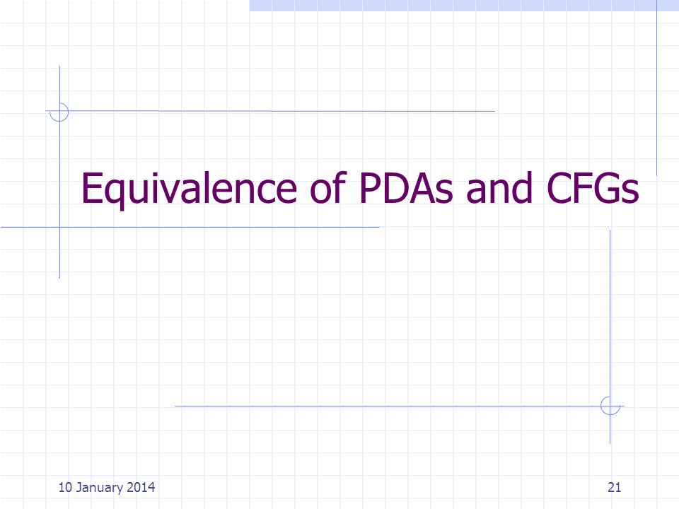 Equivalence of PDAs and CFGs 2110 January 2014