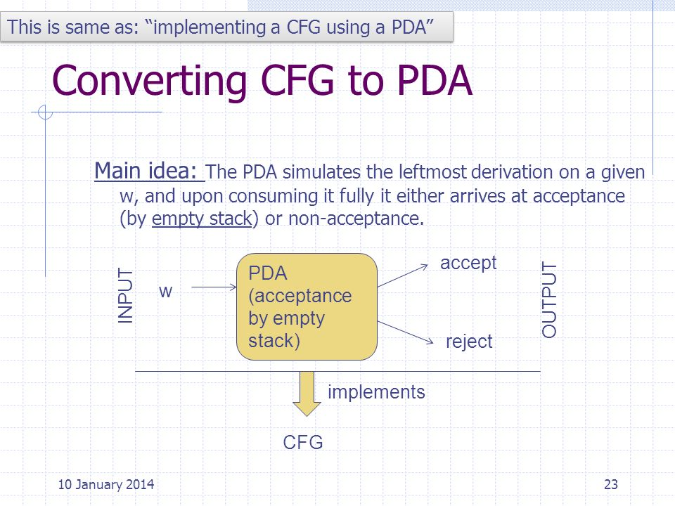 Converting CFG to PDA Main idea: The PDA simulates the leftmost derivation on a given w, and upon consuming it fully it either arrives at acceptance (