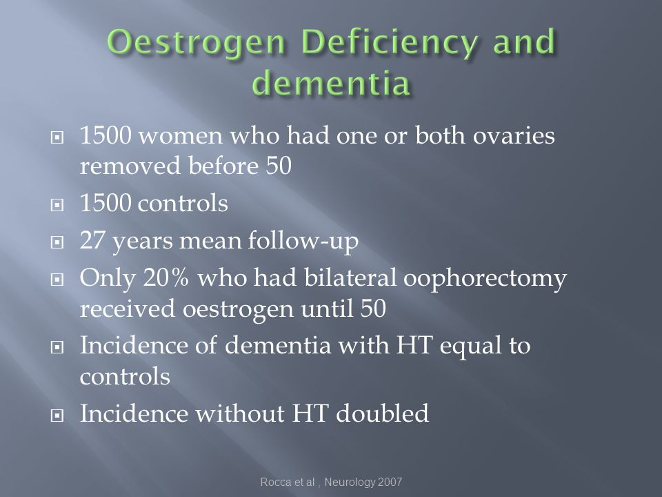 1500 women who had one or both ovaries removed before 50 1500 controls 27 years mean follow-up Only 20% who had bilateral oophorectomy received oestrogen until 50 Incidence of dementia with HT equal to controls Incidence without HT doubled Rocca et al, Neurology 2007