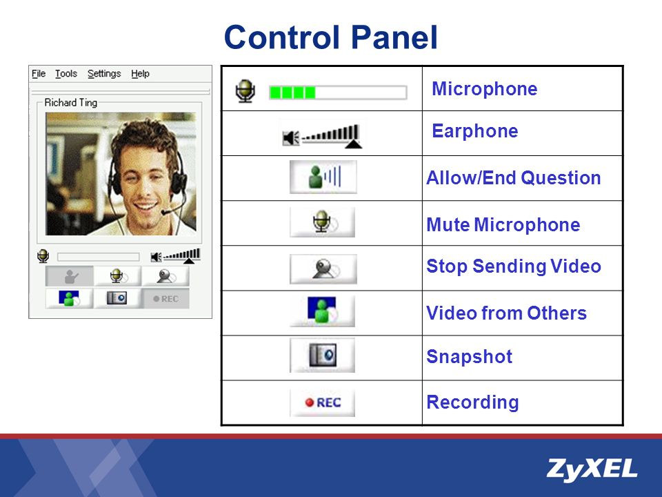 Control Panel Microphone Earphone Allow/End Question Mute Microphone Stop Sending Video Video from Others Snapshot Recording