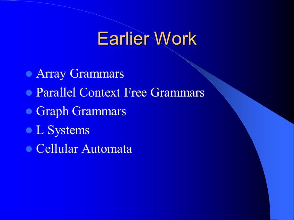 Earlier Work Array Grammars Parallel Context Free Grammars Graph Grammars L Systems Cellular Automata