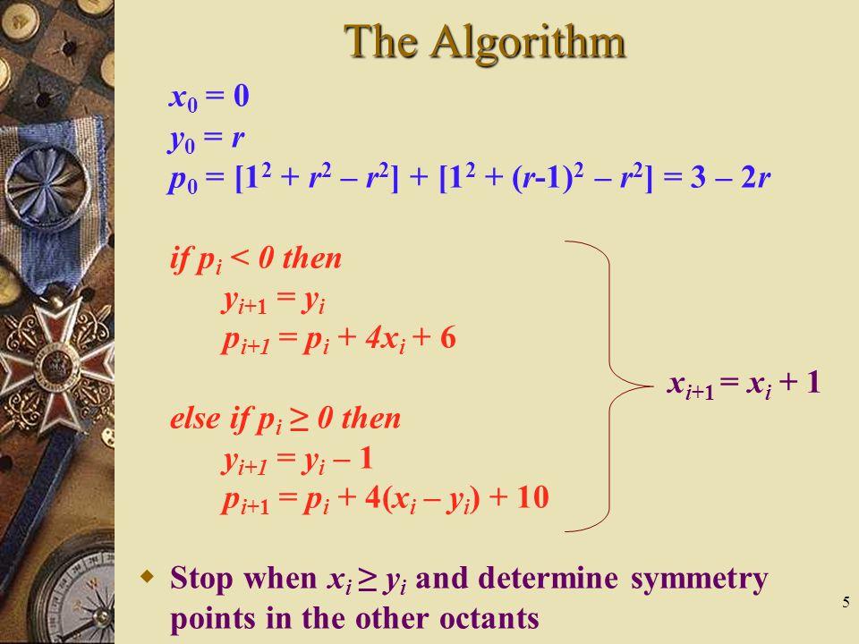 5 The Algorithm x 0 = 0 y 0 = r p 0 = [1 2 + r 2 – r 2 ] + [1 2 + (r-1) 2 – r 2 ] = 3 – 2r if p i < 0 then y i+1 = y i p i+1 = p i + 4x i + 6 else if