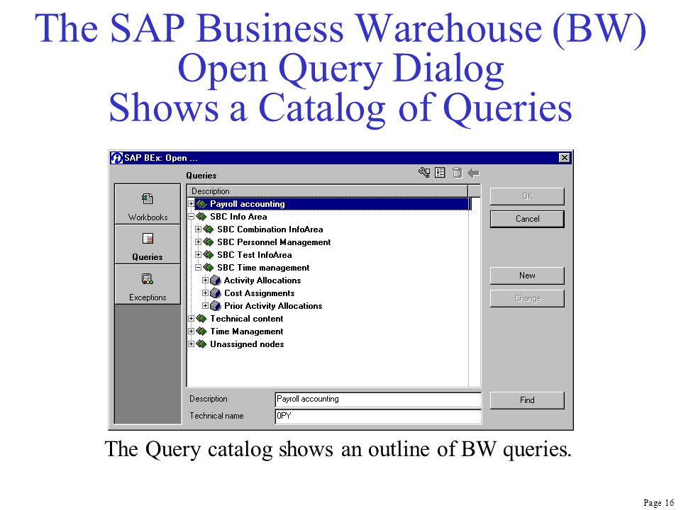 Page 16 The SAP Business Warehouse (BW) Open Query Dialog Shows a Catalog of Queries The Query catalog shows an outline of BW queries.