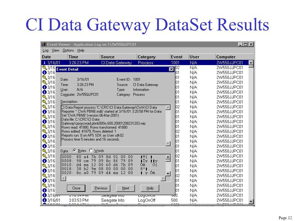 Page 32 CI Data Gateway DataSet Results