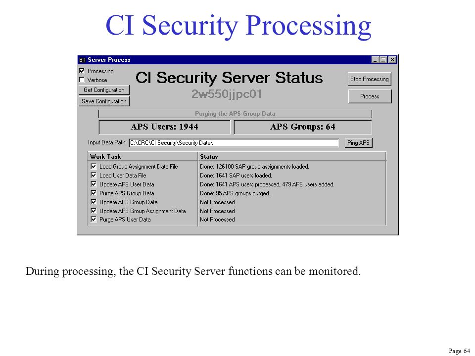 Page 64 CI Security Processing During processing, the CI Security Server functions can be monitored.