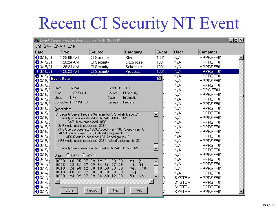 Page 72 Recent CI Security NT Event