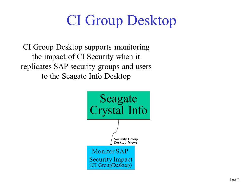 Page 74 CI Group Desktop Seagate Crystal Info Monitor SAP Security Impact (CI GroupDesktop) Security Group Desktop Views CI Group Desktop supports mon
