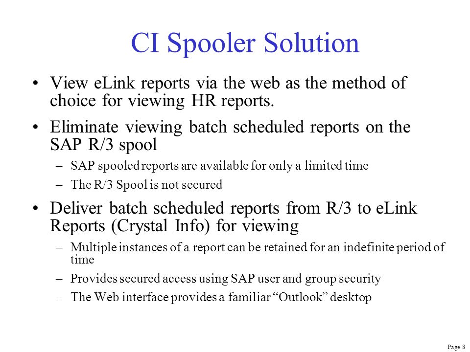 Page 19 BW Reports on Info Desktop When processed by the CI Spooler, the BW query appears as a report instance.