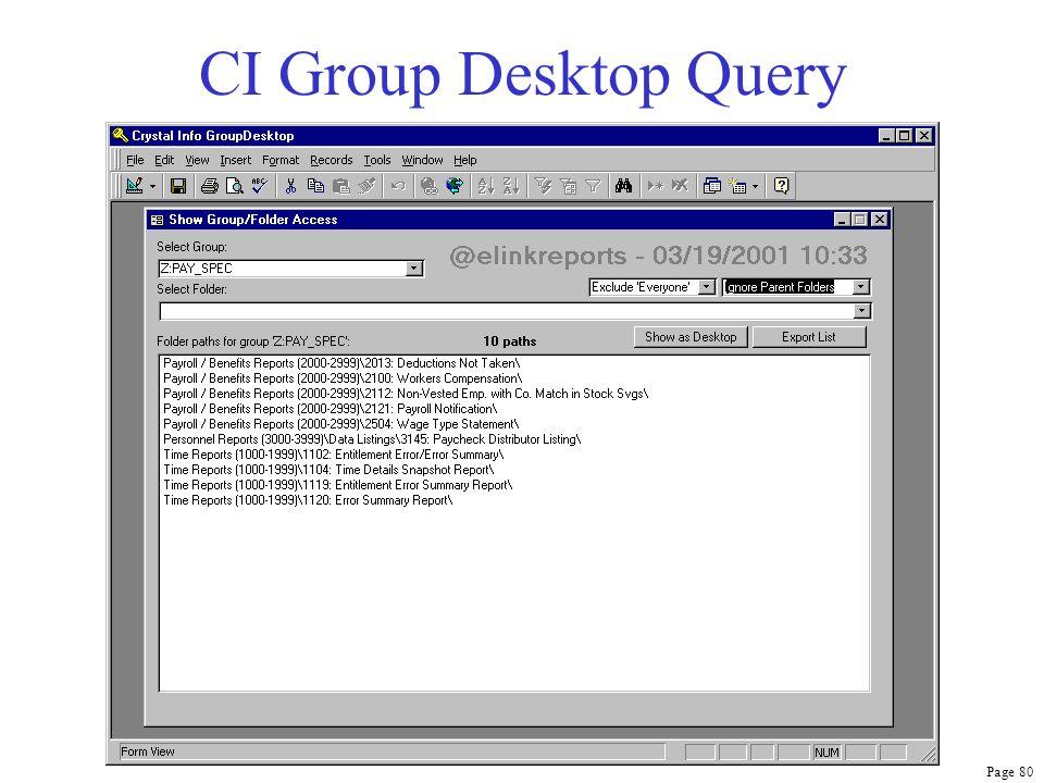 Page 80 CI Group Desktop Query