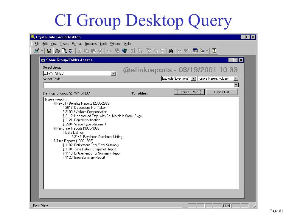 Page 81 CI Group Desktop Query
