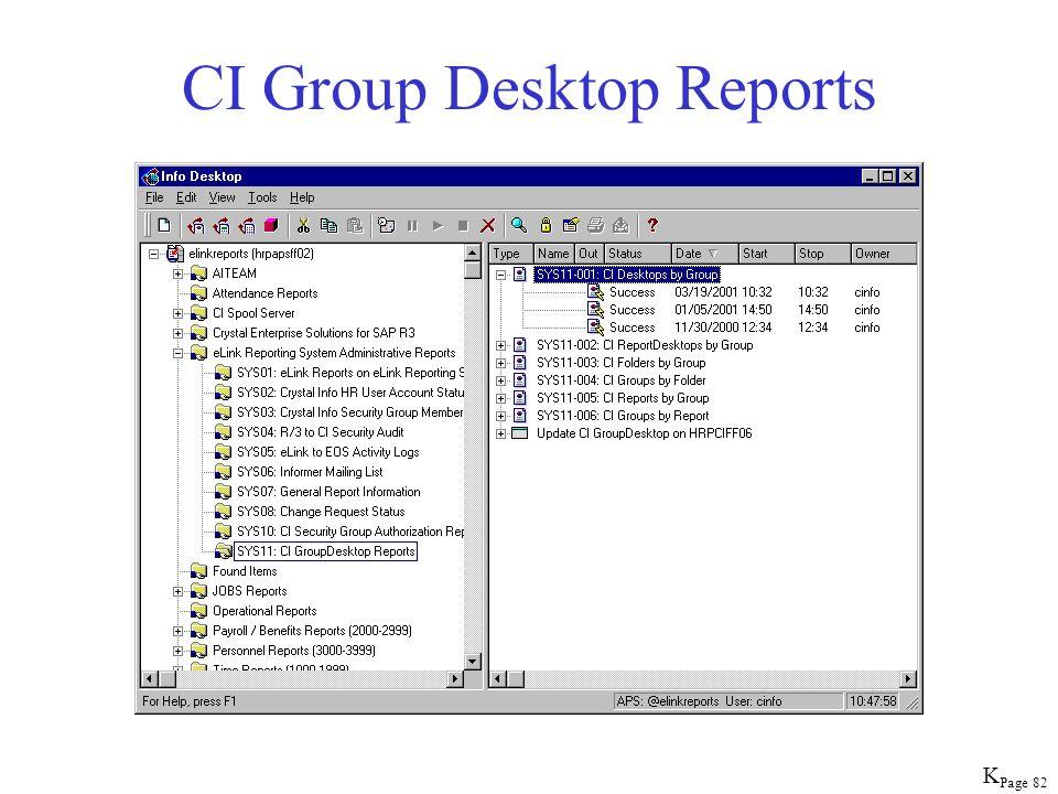 Page 82 CI Group Desktop Reports K