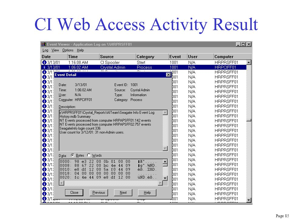 Page 85 CI Web Access Activity Result