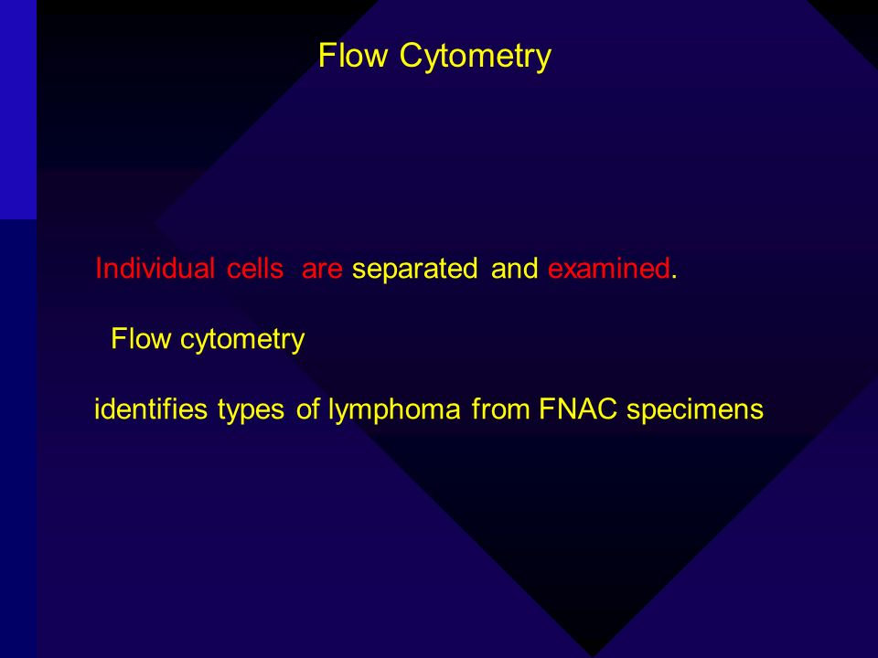 Individual cells are separated and examined. Flow cytometry identifies types of lymphoma from FNAC specimens Flow Cytometry