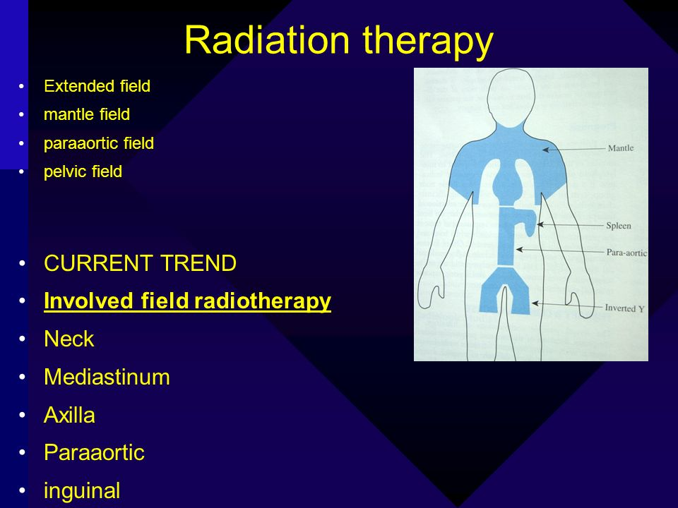 Radiation therapy Extended field mantle field paraaortic field pelvic field CURRENT TREND Involved field radiotherapy Neck Mediastinum Axilla Paraaort