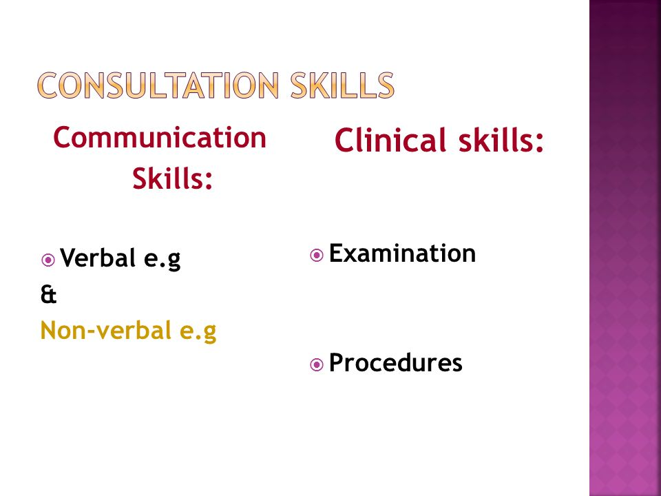 Communication Skills: Verbal e.g & Non-verbal e.g Clinical skills: Examination Procedures