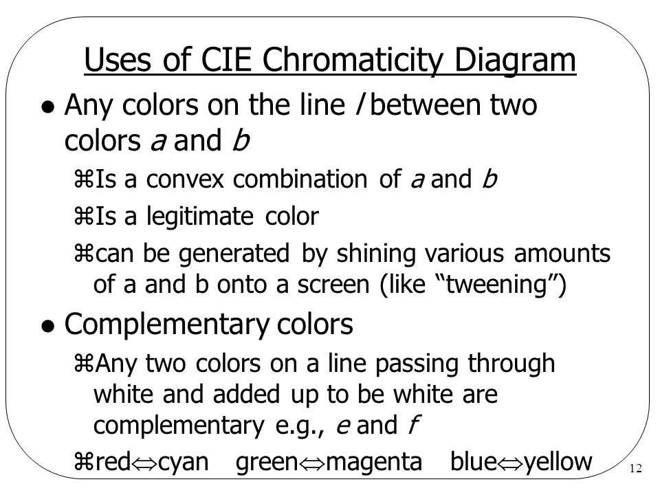 12 Uses of CIE Chromaticity Diagram l Any colors on the line l between two colors a and b zIs a convex combination of a and b zIs a legitimate color z
