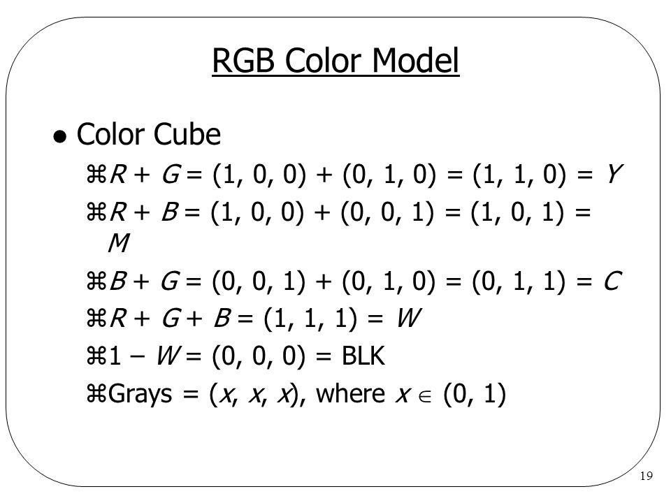 19 RGB Color Model l Color Cube zR + G = (1, 0, 0) + (0, 1, 0) = (1, 1, 0) = Y zR + B = (1, 0, 0) + (0, 0, 1) = (1, 0, 1) = M zB + G = (0, 0, 1) + (0,