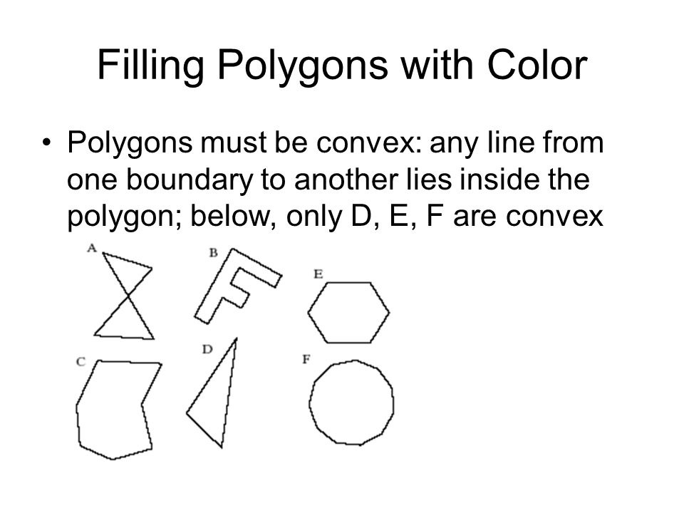 Filling Polygons with Color Polygons must be convex: any line from one boundary to another lies inside the polygon; below, only D, E, F are convex
