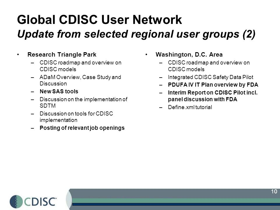 10 Global CDISC User Network Update from selected regional user groups (2) Research Triangle Park –CDISC roadmap and overview on CDISC models –ADaM Overview, Case Study and Discussion –New SAS tools –Discussion on the implementation of SDTM –Discussion on tools for CDISC implementation –Posting of relevant job openings Washington, D.C.