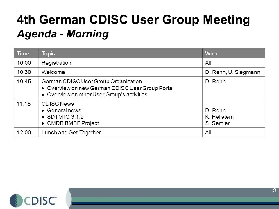 3 4th German CDISC User Group Meeting Agenda - Morning TimeTopicWho 10:00RegistrationAll 10:30WelcomeD.