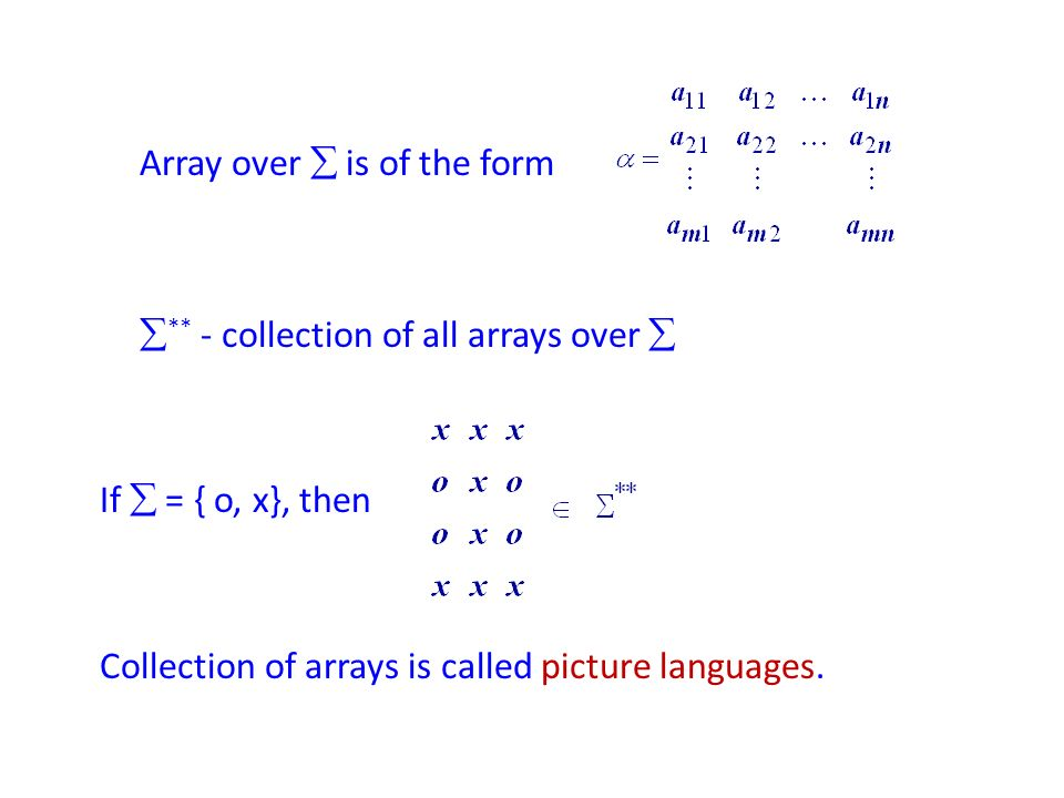 Array over is of the form ** - collection of all arrays over If = { o, x}, then Collection of arrays is called picture languages.