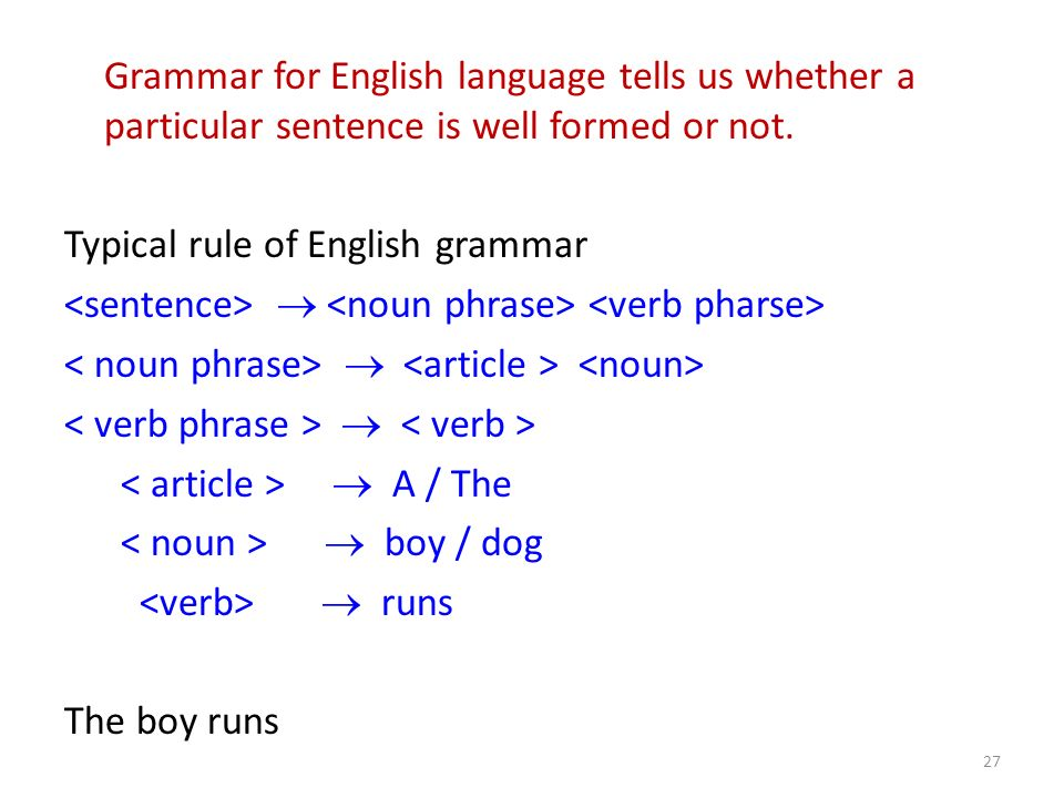 Grammar for English language tells us whether a particular sentence is well formed or not. Typical rule of English grammar A / The boy / dog runs The
