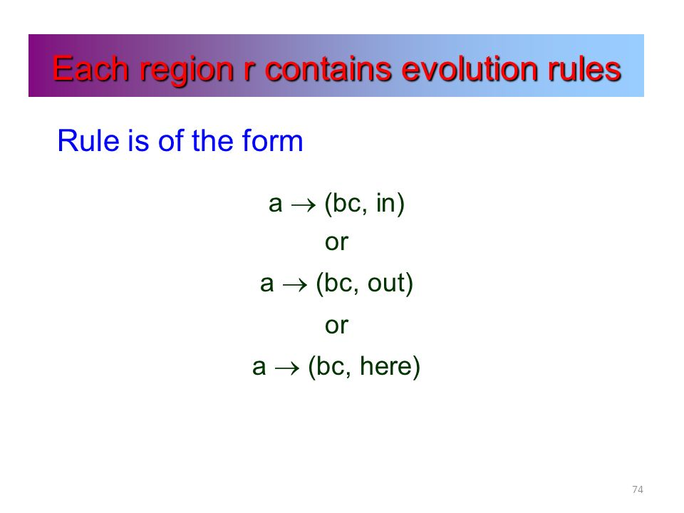 74 Each region r contains evolution rules Rule is of the form a (bc, in) or a (bc, out) or a (bc, here)