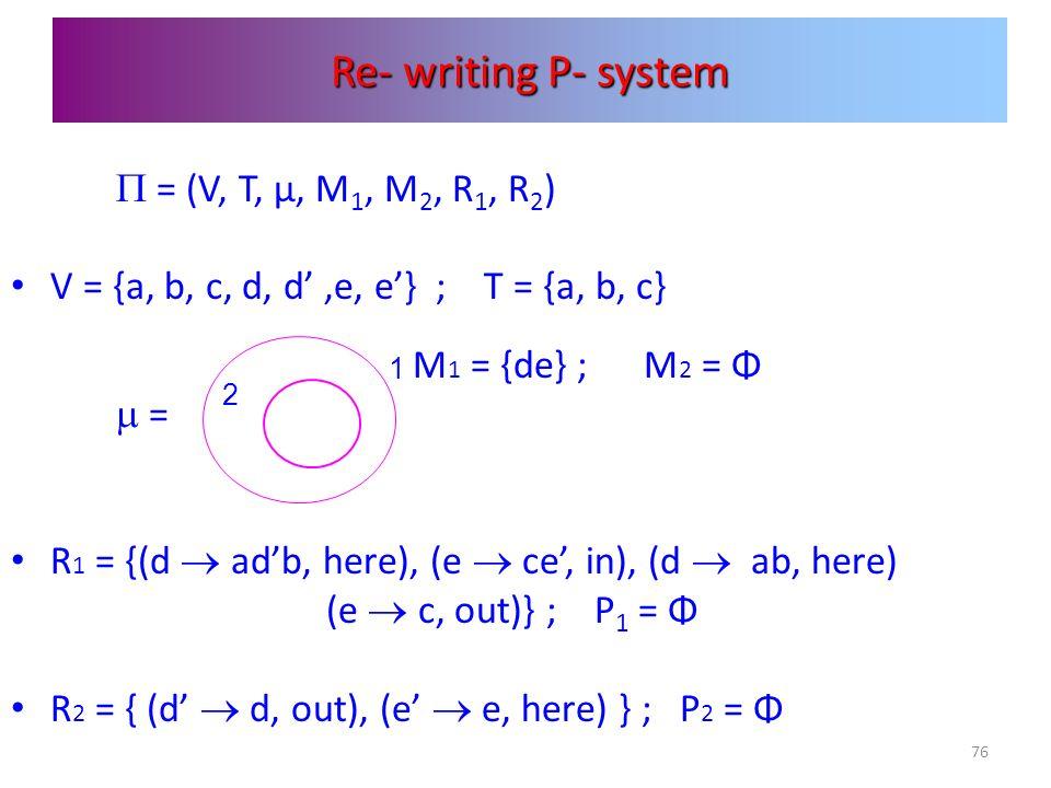 76 Re- writing P- system = (V, T, μ, M 1, M 2, R 1, R 2 ) V = {a, b, c, d, d,e, e} ; T = {a, b, c} M 1 = {de} ; M 2 = Φ = R 1 = {(d adb, here), (e ce,
