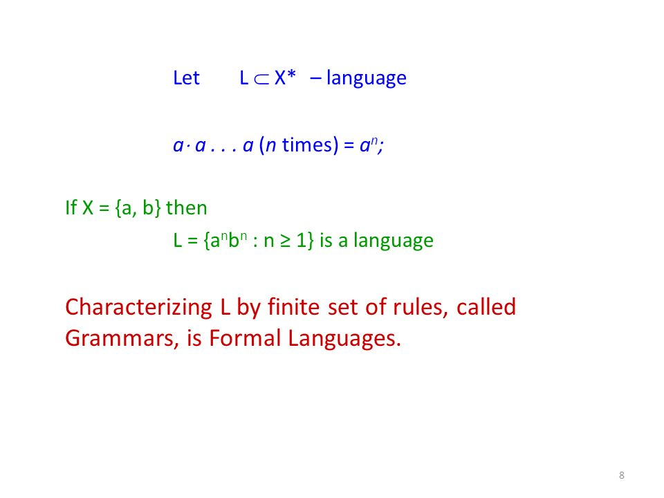 Let L X* – language a a... a (n times) = a n ; If X = {a, b} then L = {a n b n : n 1} is a language Characterizing L by finite set of rules, called Gr