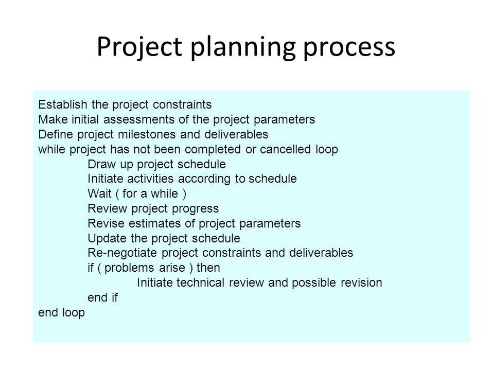Project planning process Establish the project constraints Make initial assessments of the project parameters Define project milestones and deliverables while project has not been completed or cancelled loop Draw up project schedule Initiate activities according to schedule Wait ( for a while ) Review project progress Revise estimates of project parameters Update the project schedule Re-negotiate project constraints and deliverables if ( problems arise ) then Initiate technical review and possible revision end if end loop